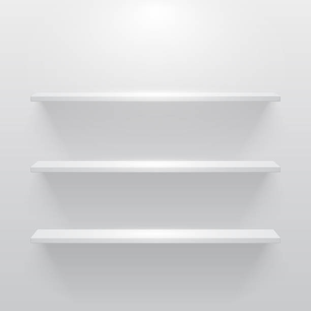 Shelf with light and shadow in empty white room Shelf with light and shadow in empty white room. no people stock illustrations