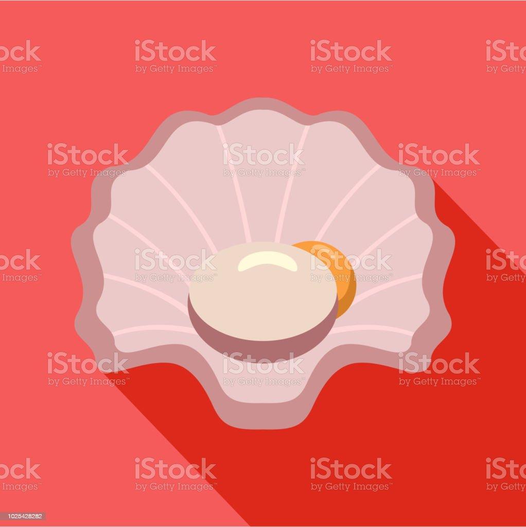 Shell icon, flat style vector art illustration