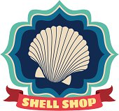 Vector shell shop luggage label or travel sticker.