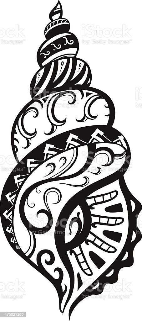 Shell with ornaments in the style of the Maori vector art illustration