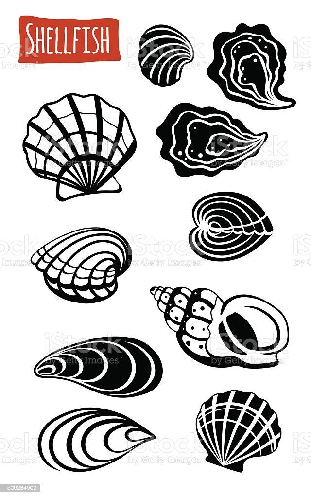 Shellfish, vector cartoon illustration vector art illustration