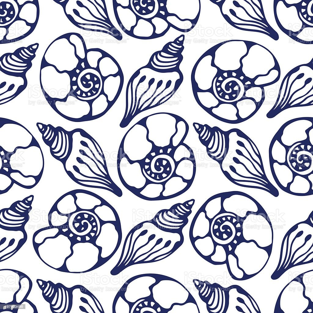 Shells seamless pattern in blue color. vector art illustration