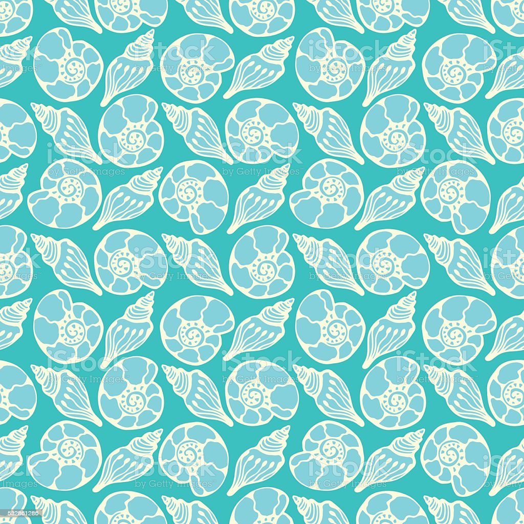 Shells seamless pattern in blue colors.  vector marine background. vector art illustration