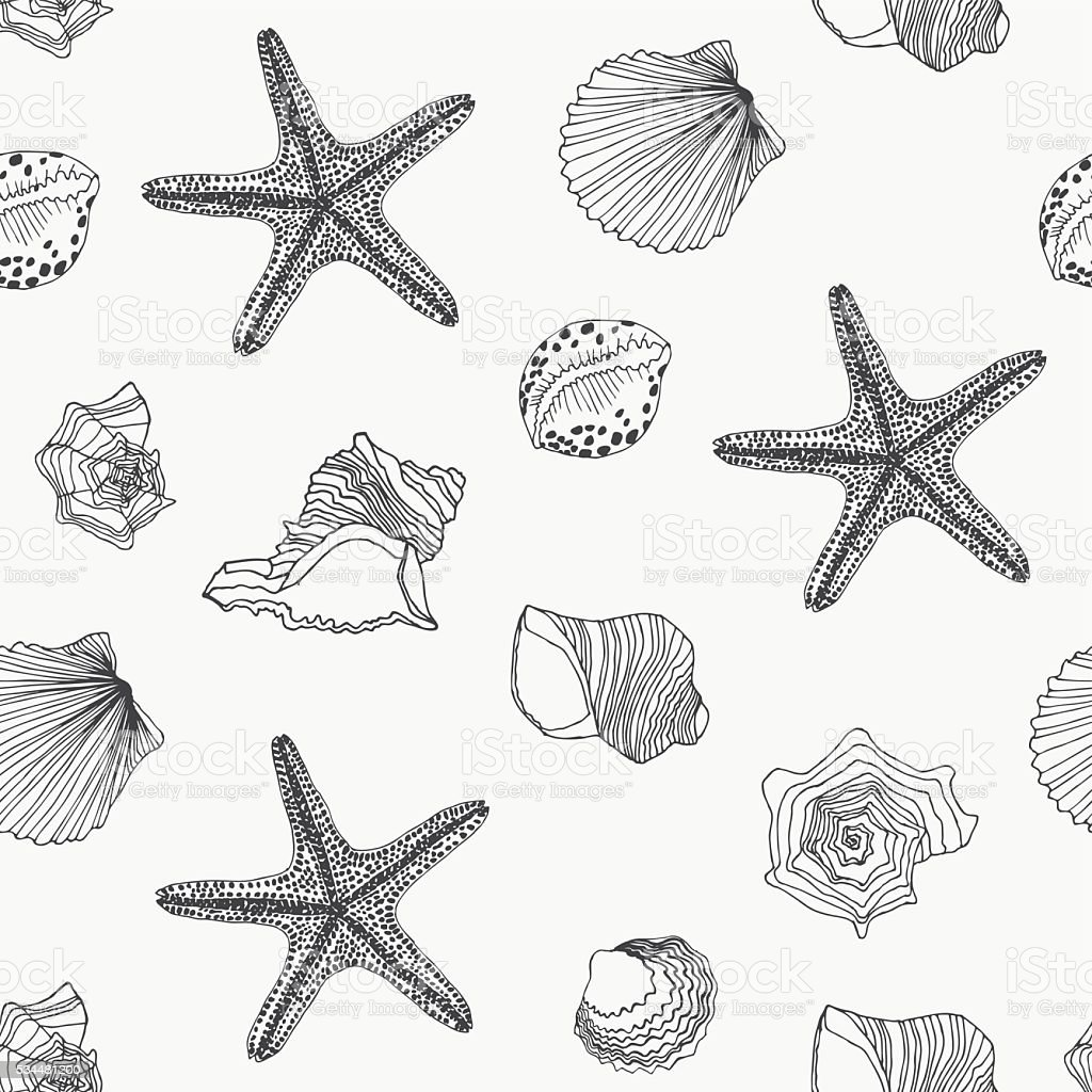 Shells seamless pattern vector art illustration