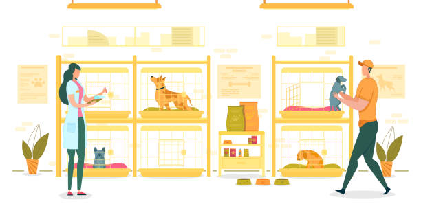 Shelter for Dogs with Workers Taking Care Animals. Shelter for Dogs with Workers Flat Cartoon Vector Illustration. Empty Cells or Cages or with Animals. Girl in Coat with Badge Holding List. Man in Uniform Carrying Small Puppy in his Arms. animal shelter stock illustrations