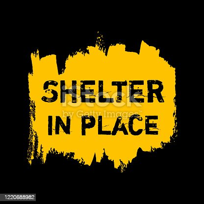 Shelter in place ink icon. Coronavirus lockdown, quarantine. Watercolor texture. Pandemic medical concept hand drawn vector brush strokes, splash, spot isolated on yellow, black background. Stay home.