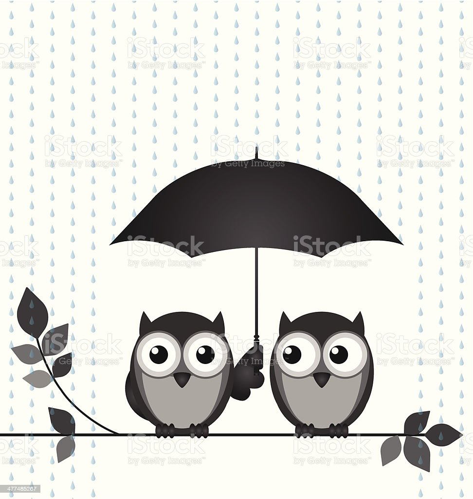 Sheltering from the rain royalty-free stock vector art