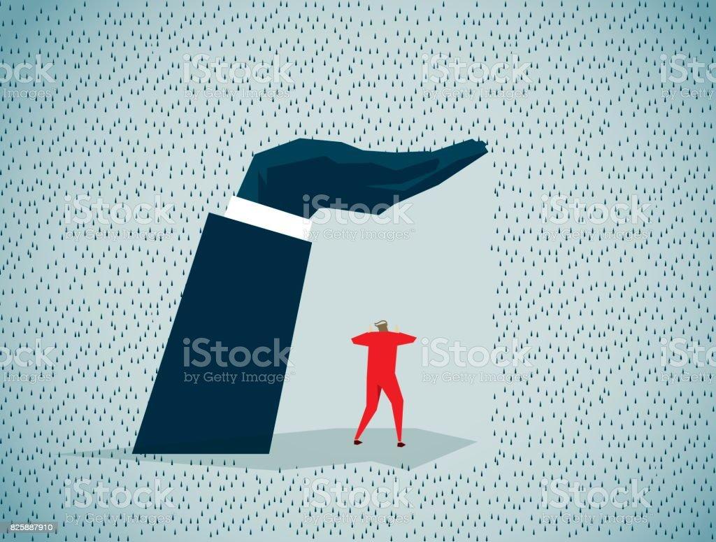 sheltering vector art illustration