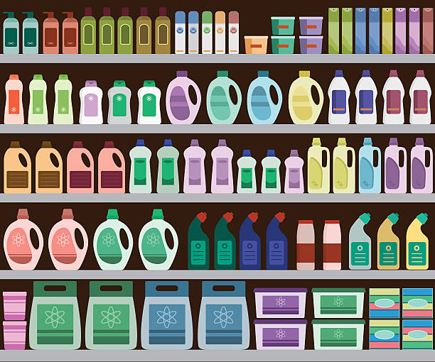 ilustraciones, imágenes clip art, dibujos animados e iconos de stock de shelves filled with cleaning products - grocery aisle