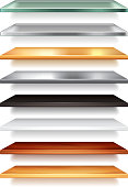 Shelves from different materials isolated vector