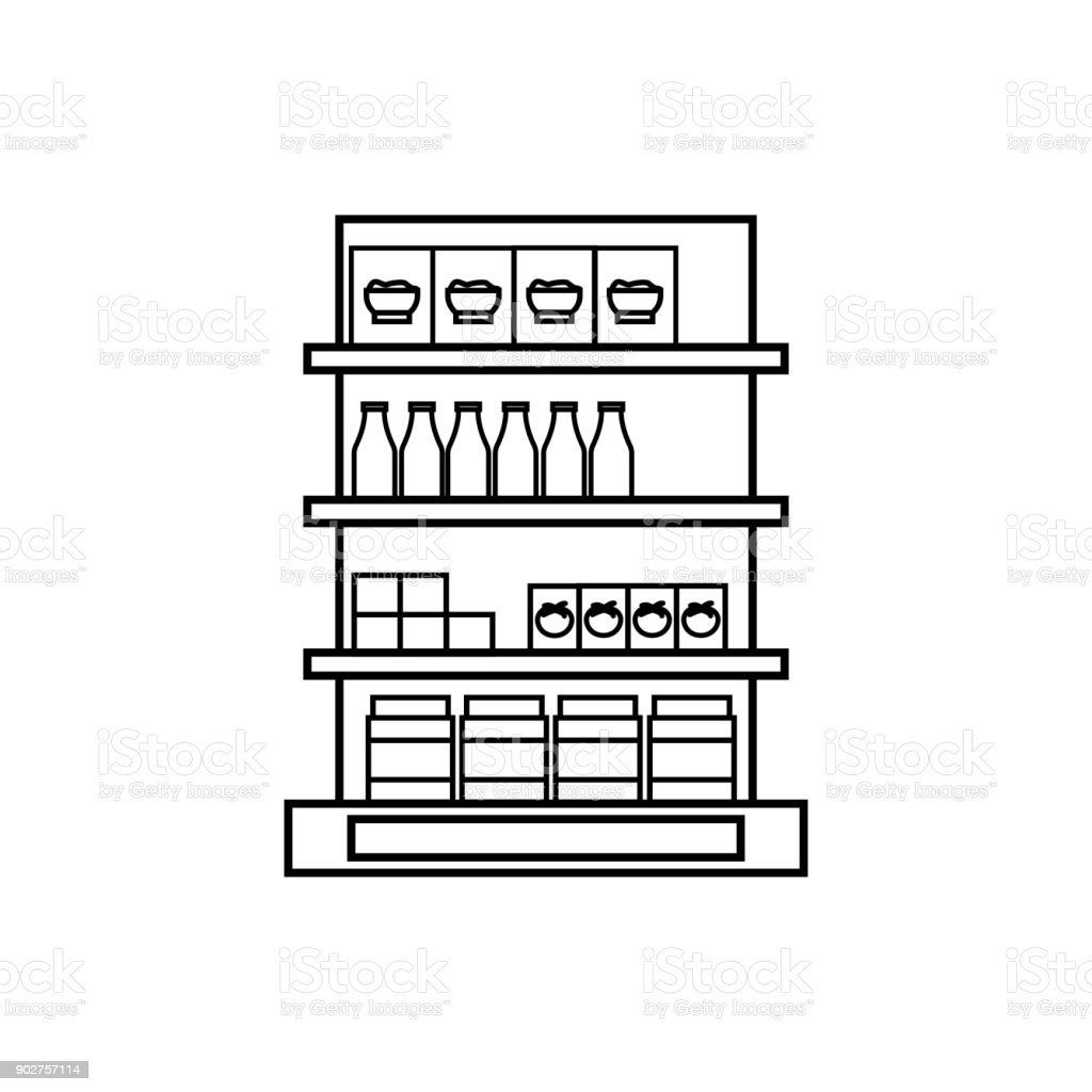 Shelves In The Grocery Store Icon Hypermarket And Goods For Sale ...