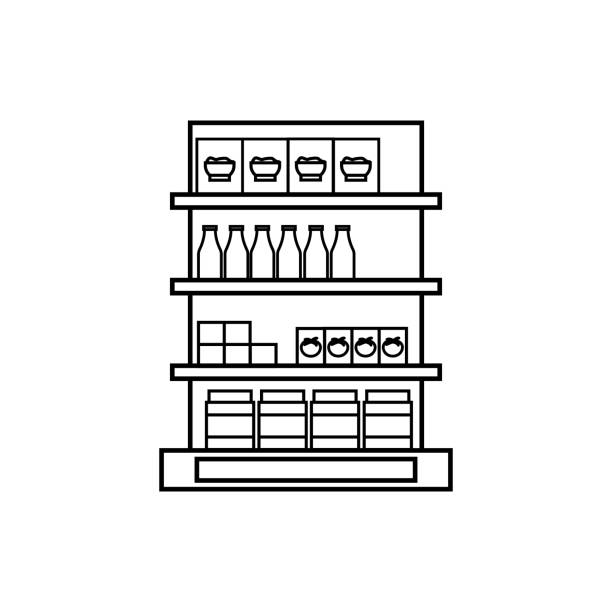 ilustrações de stock, clip art, desenhos animados e ícones de shelves in the grocery store icon. hypermarket and goods for sale elements. premium quality graphic design icon. simple love icon for websites, web design, mobile app - prateleira compras