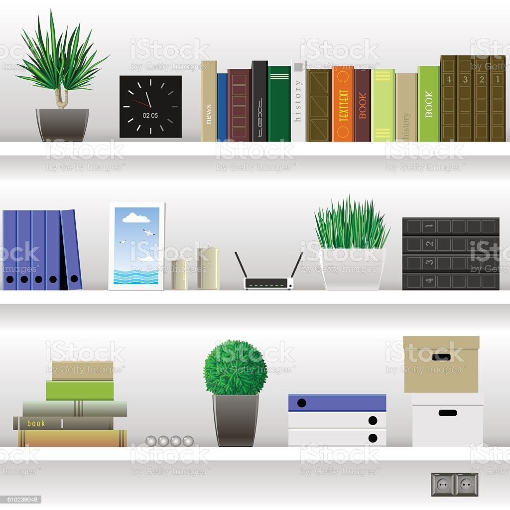 Shelves Office and Cabinet vector art illustration