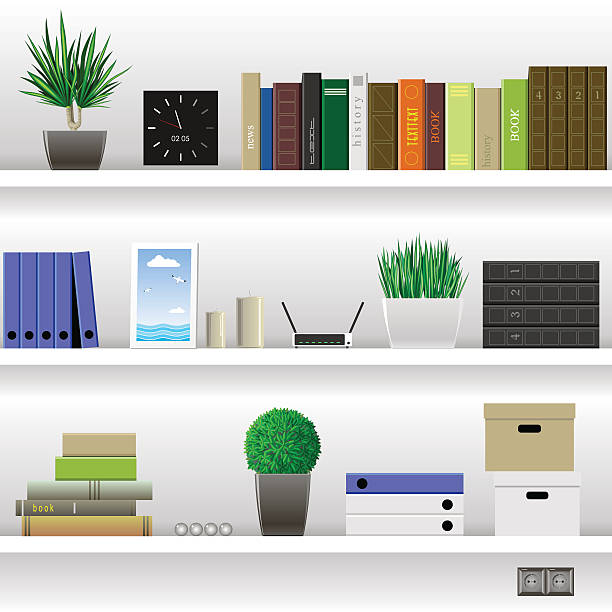 Shelves Office and Cabinet vector art illustration