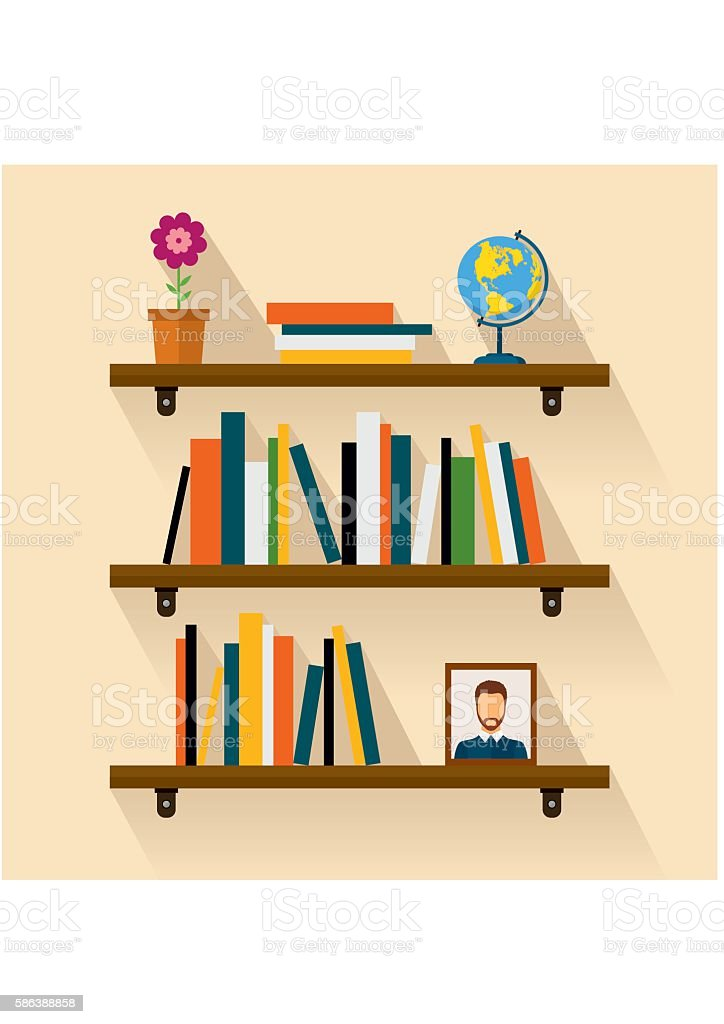 Shelves reading books, picture, globe and flower. Brown bookshelf vector art illustration