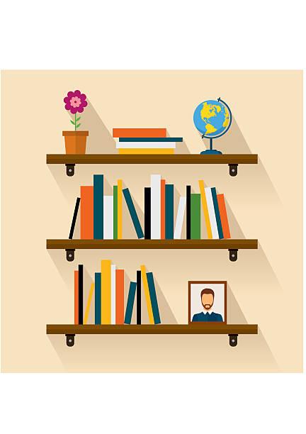 Shelves reading books, picture, globe and flower. Brown bookshelf vector art illustration
