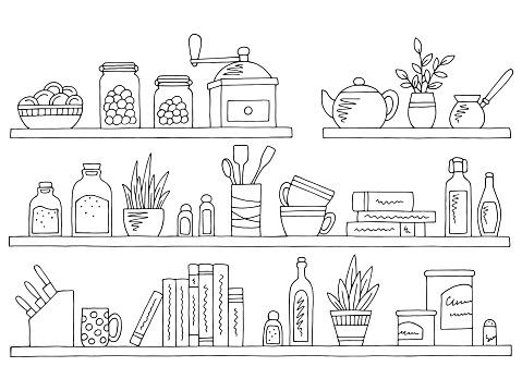 Shelves set graphic black white isolated kitchenware sketch illustration vector