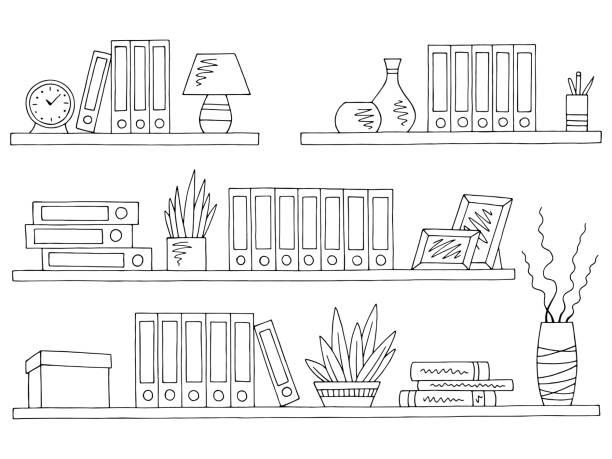 선반 설정 그래픽 검은 흰색 절연된 사무실 스케치 그림 벡터 - 책장 stock illustrations