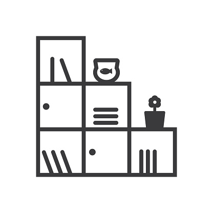 Shelves storage interior with goods aquarium with fish and a flower pot, minimal flat line outline icon.