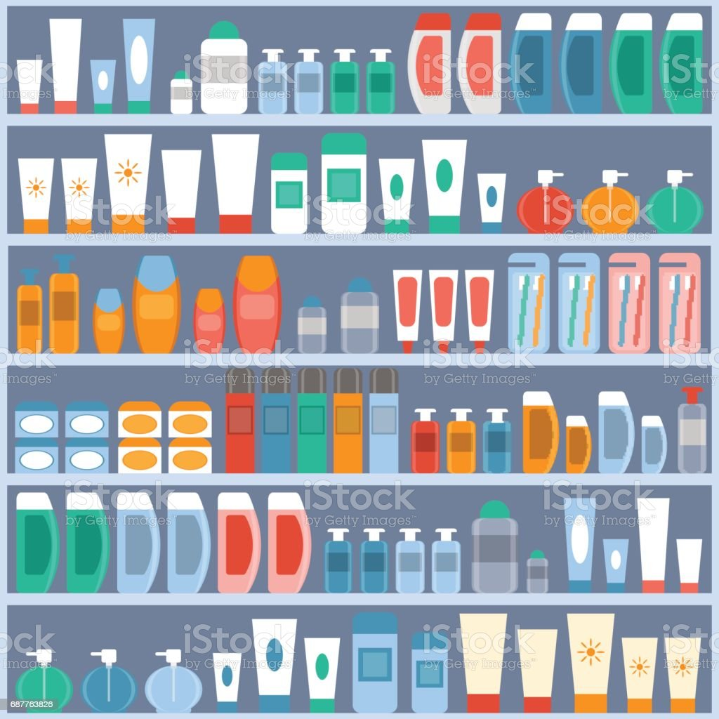 shelves to store cosmetics, hygiene and personal care. vector art illustration