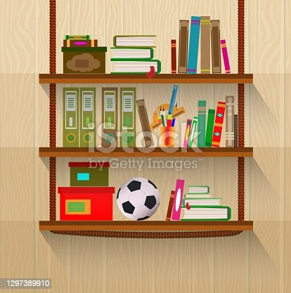 istock Shelves with books hinged in a flat design style. 1297389910