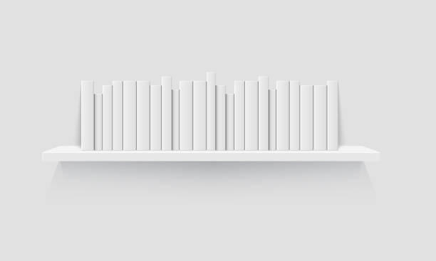 Shelves with books vector art illustration