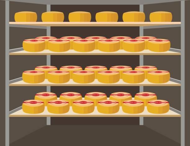 shelves with cheese - tortenständer stock-grafiken, -clipart, -cartoons und -symbole