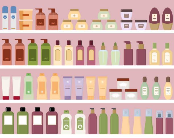 regale mit bunten kosmetikprodukten in plastikflaschen. - naturseife stock-grafiken, -clipart, -cartoons und -symbole