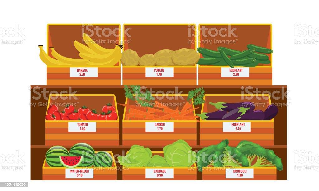 Prateleiras com variedade de vegetal fresca. Caixas de madeira de mercearia. Vetor ilustrado. Design de cor lisa. - ilustração de arte em vetor