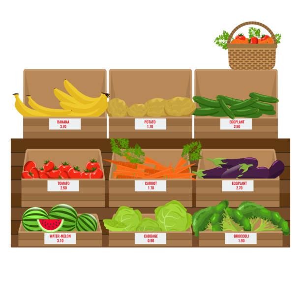 stockillustraties, clipart, cartoons en iconen met schappen met vers fruit assortiment. houten kisten van de supermarkt. geïllustreerde vector. egale kleur ontwerp. - bazaar