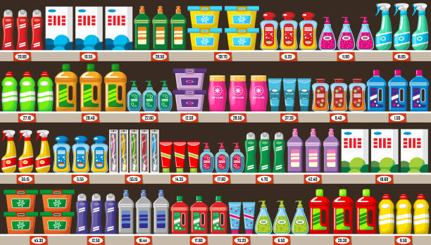 illustrazioni stock, clip art, cartoni animati e icone di tendenza di shelves with household chemicals in shop - grocery home