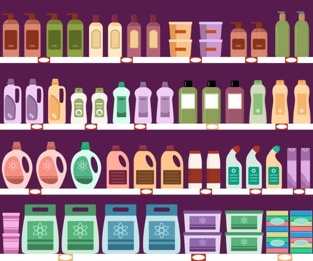 Shelves with household chemicals in the supermarket. Shelves with household chemicals in the supermarket. Seamless pattern. Vector illustration. grocery aisle stock illustrations