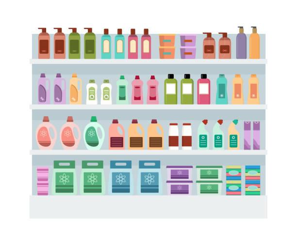 regale mit haushalts-chemikalien im supermarkt. - kastenständer stock-grafiken, -clipart, -cartoons und -symbole