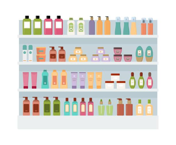 ilustrações de stock, clip art, desenhos animados e ícones de shelves with lot of colorful cosmetic products. - prateleira compras