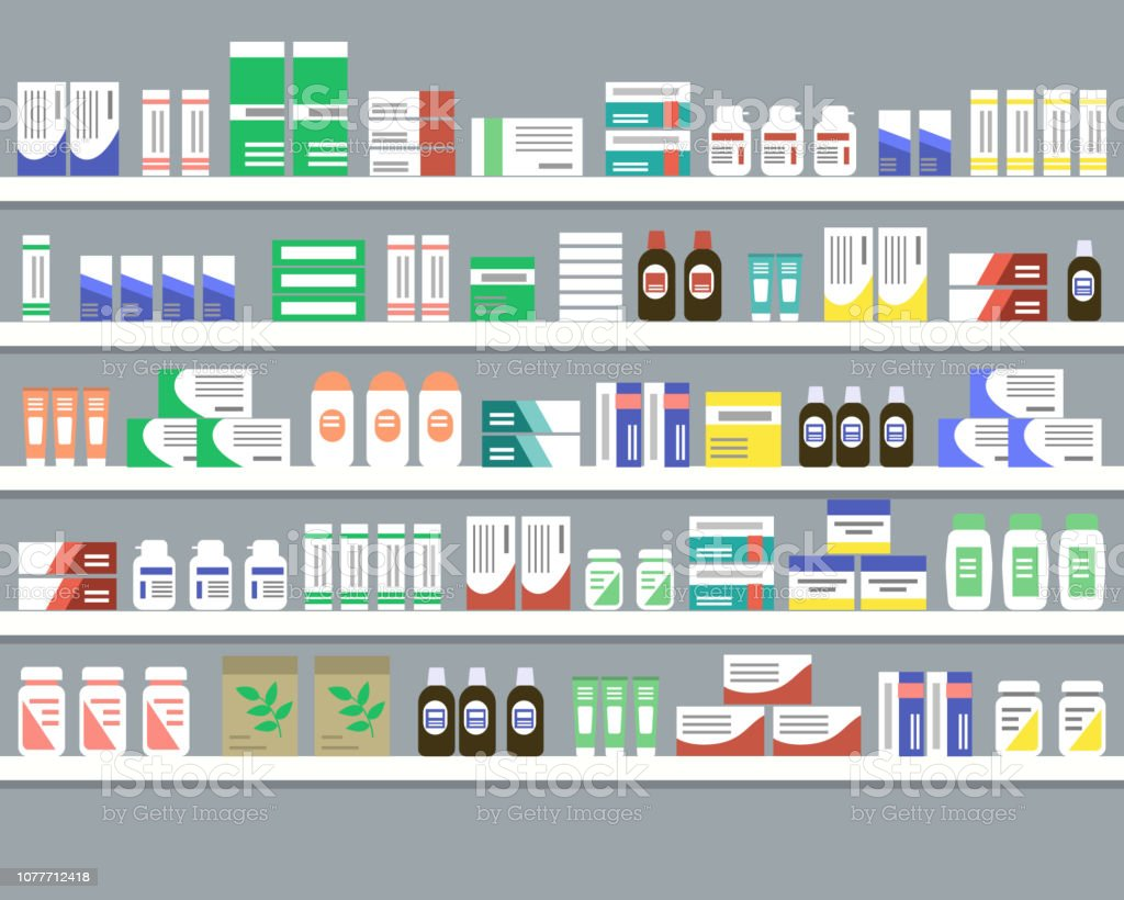 Shelves with medicines. Objects for a pharmacy interior - arte vettoriale royalty-free di Affari
