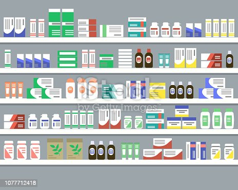 Shelves with medicines. Objects for a pharmacy interior. Vector illustration.