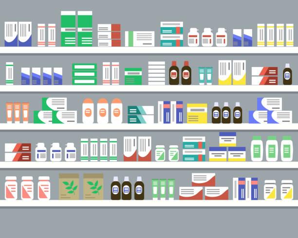 illustrazioni stock, clip art, cartoni animati e icone di tendenza di scaffali con medicinali. oggetti per interni in farmacia - farmacia