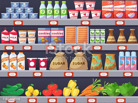 Shelves with products, shop store and promotion. Commercial wall with goods, marketing and advertising image. Vector illustration
