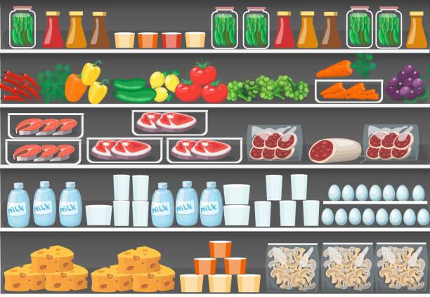 bildbanksillustrationer, clip art samt tecknat material och ikoner med hyllor med produkter. vector mat supermarket bakgrund - dagligvaruhandel, hylla, bakgrund, blurred