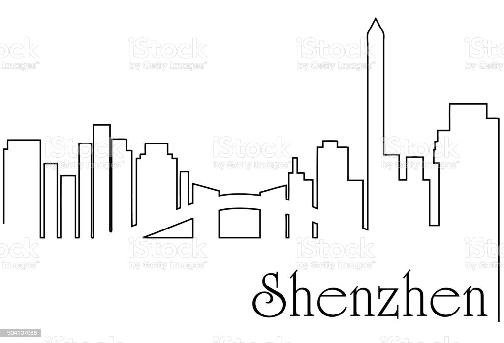 Shenzen city one line drawing background vector art illustration