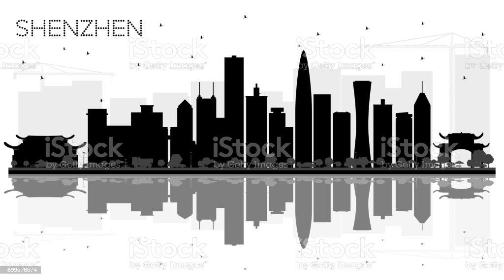 Shenzhen China City skyline black and white silhouette with Reflections. vector art illustration