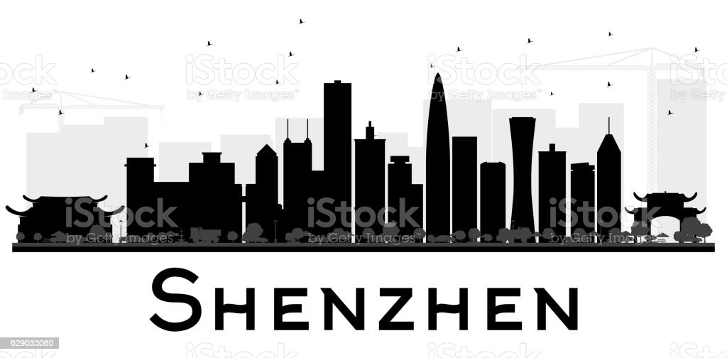 Shenzhen City skyline black and white silhouette. vector art illustration