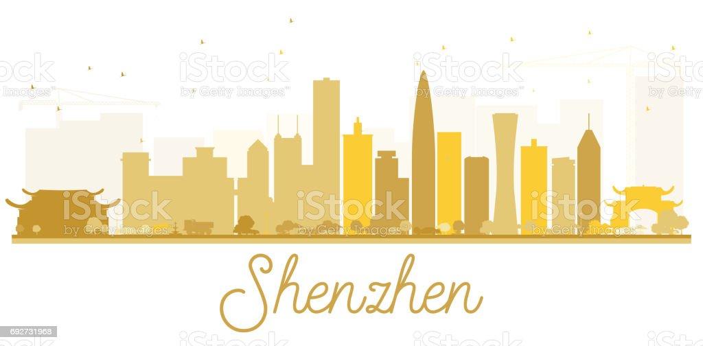 Shenzhen City skyline golden silhouette. vector art illustration