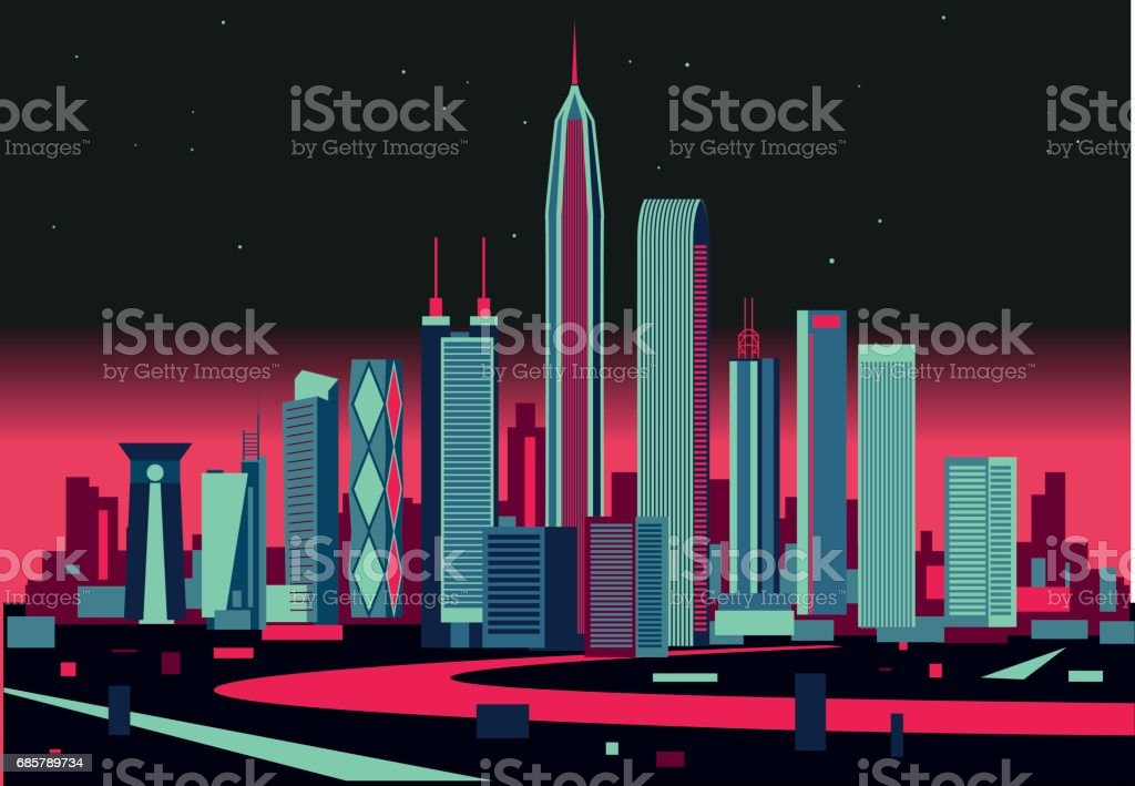 Shenzhen skyline vector art illustration