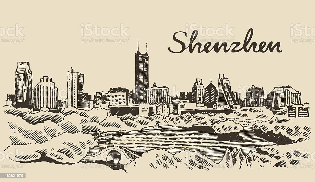 Shenzhen skyline vector illustration hand drawn vector art illustration