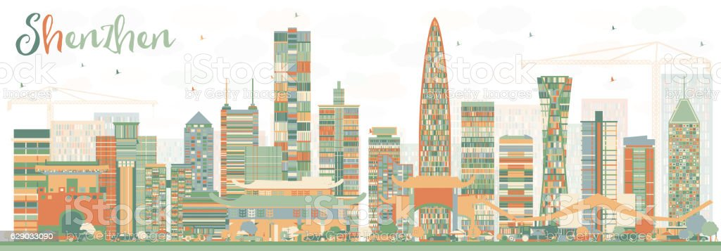 Shenzhen Skyline with Color Buildings. vector art illustration