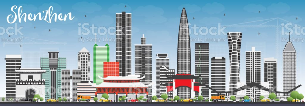 Shenzhen Skyline with Gray Buildings and Blue Sky. vector art illustration