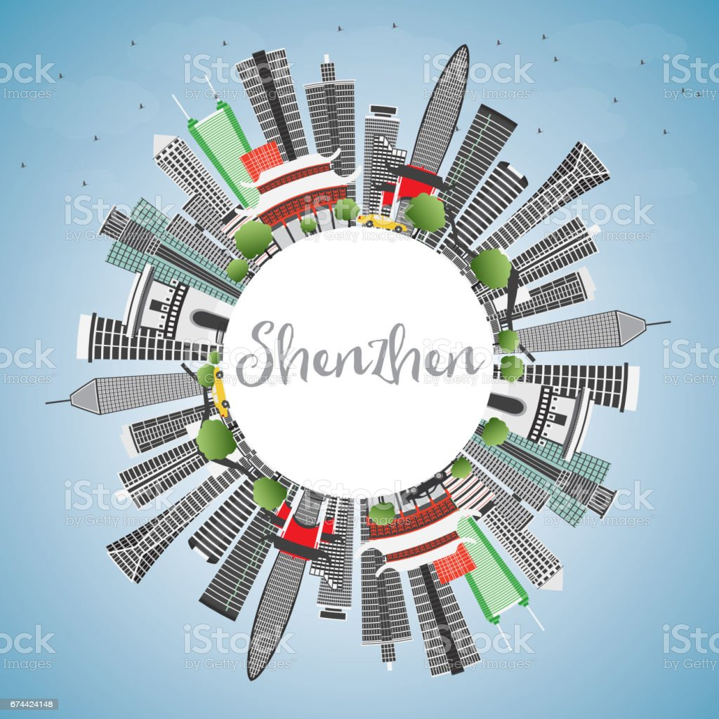 Shenzhen Skyline with Gray Buildings, Blue Sky and Copy Space. vector art illustration