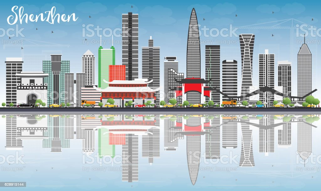 Shenzhen Skyline with Gray Buildings, Blue Sky and Reflections. vector art illustration