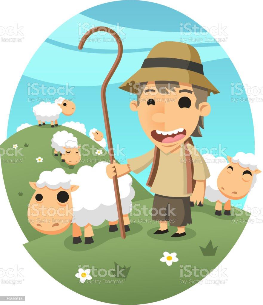 Shepher Boy Sheep Herder vector art illustration